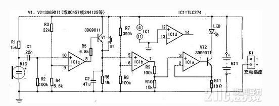 声控延时LED灯控制电路图