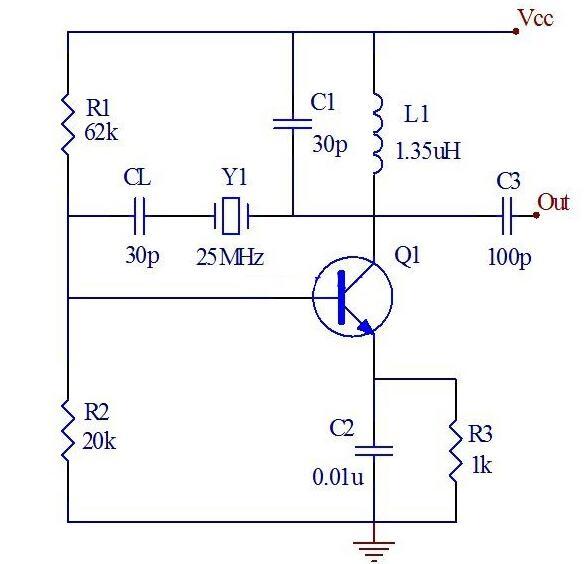 25mHZ石英晶体振荡器电路图