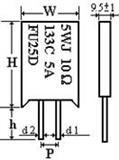 双羽水泥绕线电阻组合温度保险丝电阻3W.5W.7W.10W.温度65度-219度