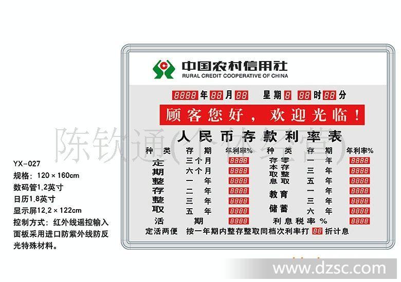 中国农村信用社存款利率表 利率屏 利率屏