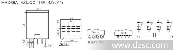 5×35 外形图,接线图,安装尺寸(mm)   hhy12pg液位继电器产品