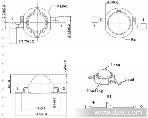 基板上封装 1w-3w大功率led灯珠 led手电筒,隧道灯 金源电子