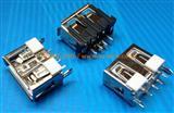 立式-鱼叉脚DIP-USB-AF-180度/直插母座-超短体10.0-铜壳/无卷口直边