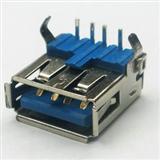 -电脑连接器-USB双层母座直插-180度弯脚15.0mm