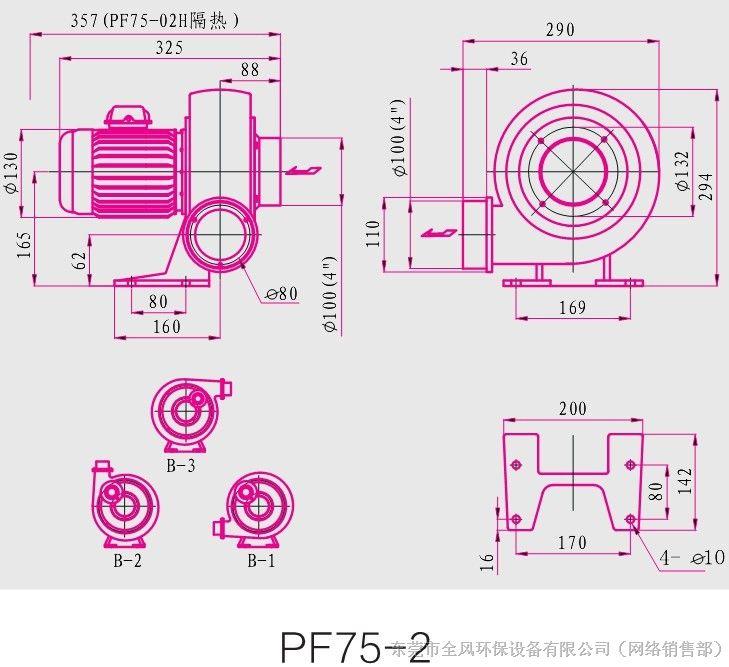 全风直叶式鼓风机系列产品型号结构图