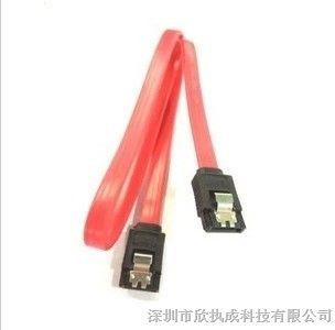 供应双弹片 SATA硬盘数据线 SATA线 串口SATA数据线 带卡扣线 长图片