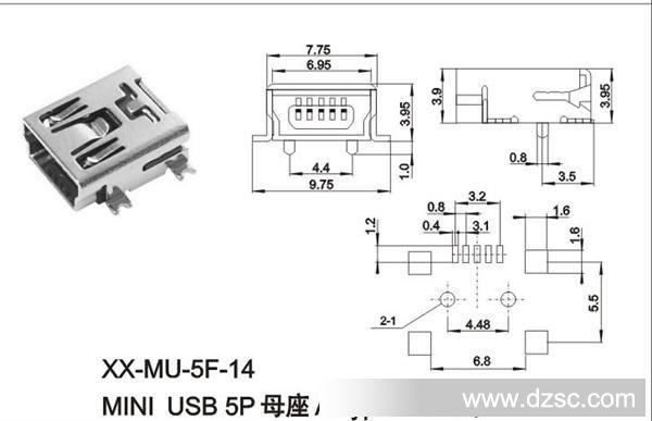 usbtypeb_mini usb 5p母座a type smt式
