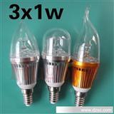 厂家直销E14 LED蜡烛灯外壳套件3*1W尖泡拉尾LED水晶灯套件
