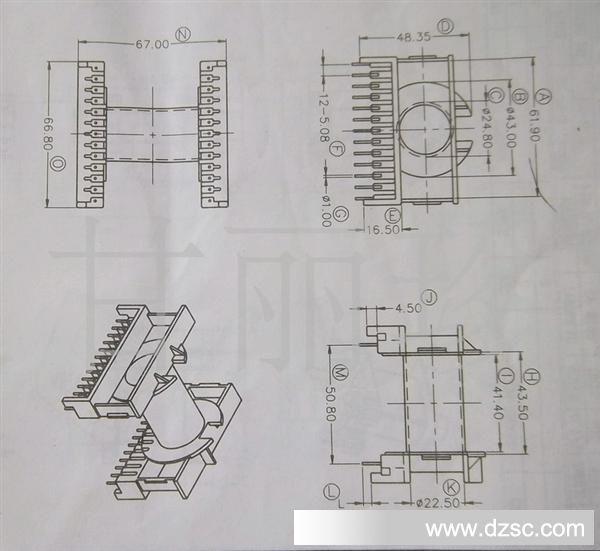 磁芯骨架etd59 尺寸图电木骨架