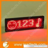 高亮红色四字窄边LED电子名片,背面带胸针磁铁