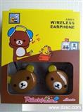热销大熊头插卡mp3耳机 卡通插卡耳机 轻松熊耳机 蓝精灵插卡耳机