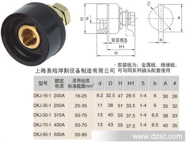 供应dkj35-50焊机中欧式快速接头电缆快速连接器