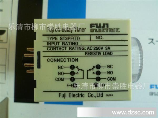 型号:JSZ3F (又称:ST3PF) 工件方式:断电延时 触点数量:延时转换触点1组 1Z,ST3PFT1:2组转换 触点容易:AC250V 3A(阻性) 工件电压: AC380V 220V 110V 36V DC24V ,DC12V 延时时间:0.5S 1S 5S 10S 30S 60S 3M 5M 10M 30M 60M ST3PF工作方式:断电后继电器开始延时,延时到所设定的时间后,继电器开 始工作 触点数量:延时转换触点1组 (ST3PF) 触点容易:AC125V 1A(阻性) 工件电压: AC
