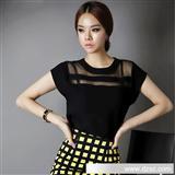2013秋季女装新款韩版短袖雪纺衫镂空雪纺上衣蕾丝衫批发