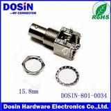 直角 50Ω 通孔安装 BNC射频同轴连接器, 插口, 焊接 端接, 镀镍主体