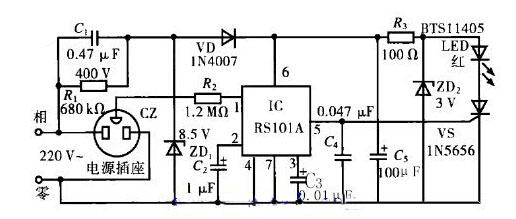 漏电报警自动控制插座的电路图