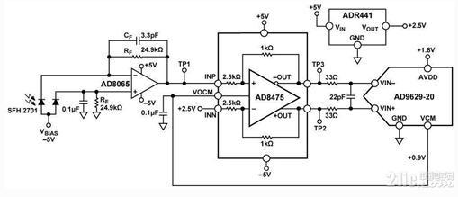 高速光电二极管信号调理电子电路图